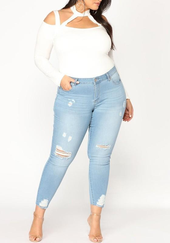 Light Blue Pockets Cut Out Plus Size Mom Boyfriend Casual Long Jeans