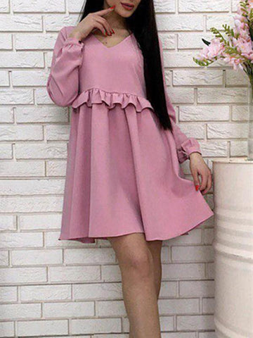 New Pink Plain Ruffle Long Sleeve Going out Mini Dress