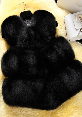 New Black Fur Collarless Sleeveless Winter Party Fashion Coat