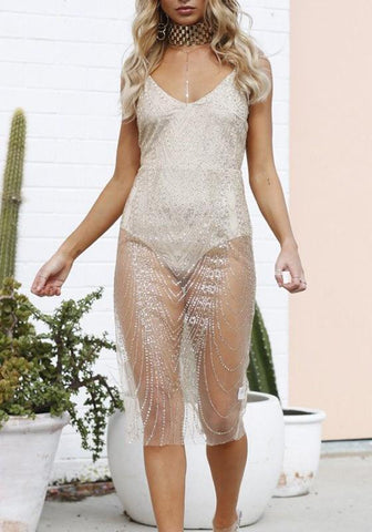 Golden Patchwork Sequin Zipper Grenadine Bodysuit Sheer Birthday Clubwear Midi Dress