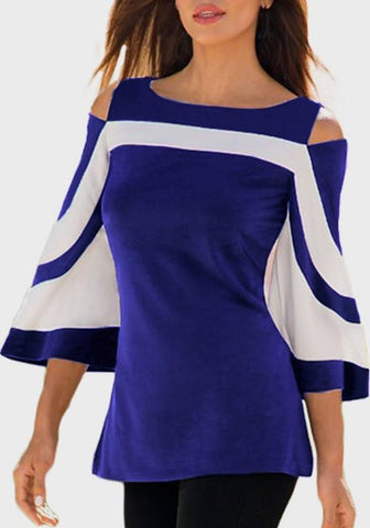 Blue Cut Out Flare Sleeve Going out Casual T-Shirt