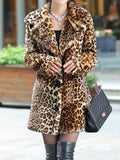 Yellow Leopard Print Turndown Collar Long Sleeve Fashion Faux Fur Coat