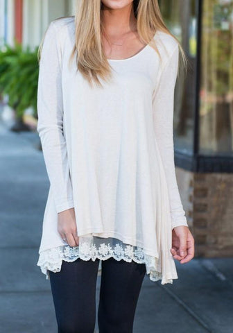 White Patchwork Irregular Lace Round Neck Long Sleeve T-Shirt