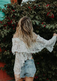 White Patchwork Grenadine Double-deck Lace High Neck Flare Sleeve Cute Blouse