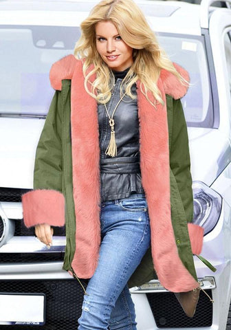 Army Green Patchwork Drawstring Pink Fur Hooded Long Sleeve Fashion Parka Coat