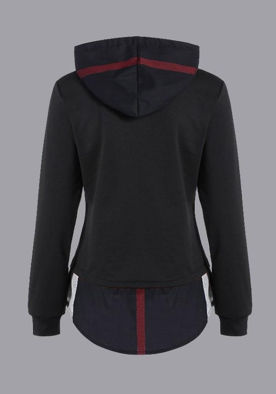 Black Patchwork Drawstring Cap Hooded Long Sleeve Casual Boyfriend Sweatshirts