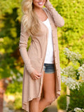 New Khaki Pockets Long Sleeve Casual Sweet Going out Outerwear