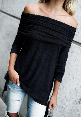Black Irregular Side Slit Off Shoulder Boat Neck Long Sleeve Pullover Sweater