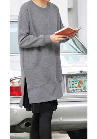 Grey Draped Irregular Side Slit Round Neck Long Sleeve Sweatshirt