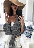 Black Plaid Cascading Ribbons Ruffle Sashes Lace-up Deep V-neck Puff Sleeve Club T-Shirt