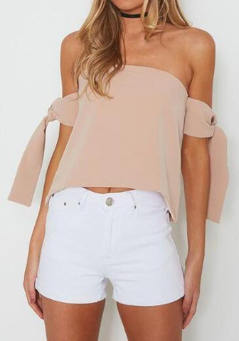 Apricot Tie Back Boat Neck Short Sleeve Blouse