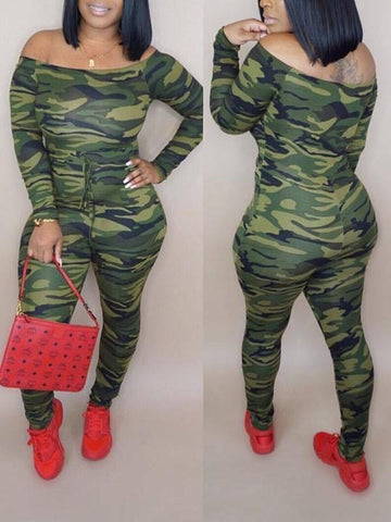 Camouflage Off Shoulder Drawstring Long Sleeve Casual Long Jumpsuit