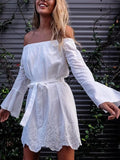 New White Floral Embroidery Belt Off Shoulder Long Sleeve Sweet Mini Dress