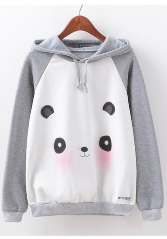 Grey Patchwork Panda Print Hooded Cute Thick Pullover Sweatshirt