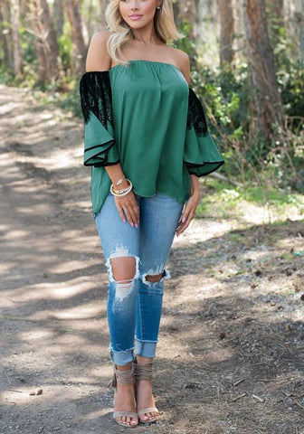 Green Patchwork Lace Ruffle Boat Neck Fashion Blouse