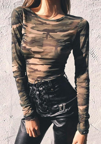 Camouflage Crop Round Neck Long Sleeve Fashion Slim T-Shirt