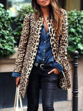 New Yellow Leopard Print Round Neck Long Sleeve Fashion Coat
