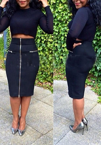 Black Zipper 2-in-1 Crop Round Neck Long Sleeve Bodycon Club Fashion Midi Dress