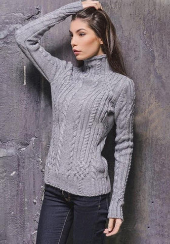 Grey High Neck Long Sleeve Slim Casual Pullover Sweater