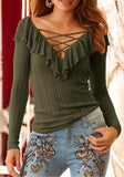 Green Cross Ruffle Cut Out V-neck Long Sleeve Fashion T-Shirt