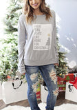 Grey Monogram Print Round Neck Casual Pullover Sweatshirt