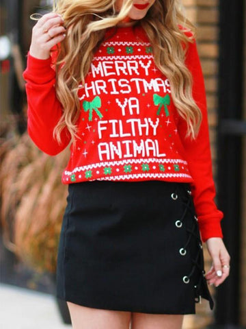 New Red Floral Print Round Neck Casual Christmas Sweatshirt