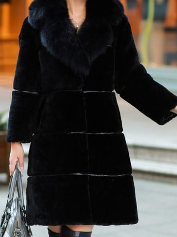 New Black Pockets Fur Collar Long Sleeve Fashion Faux Fur Coat