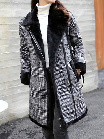 New Black Patchwork Plaid Fur Pockets Turndown Collar Long Sleeve Elegant Coat