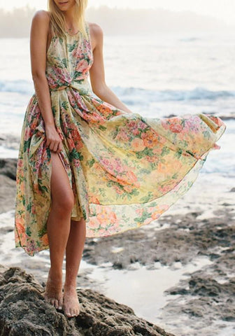 Yellow Floral Cross Back Irregular Ruffle Round Neck Maxi Dress