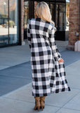 Grey Plaid No Buttons Checkered Casual Cardigan Long Coat