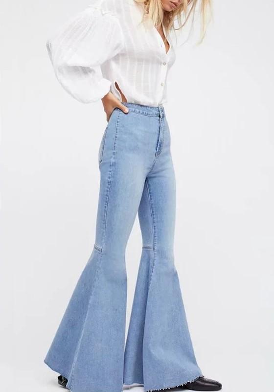 Light Blue Pockets Buttons High Waisted Boyfriend Slacks Mom Flare Long Denim Bell Pants