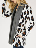 White Grey Leopard Print Pockets Long Sleeve Casual Coat