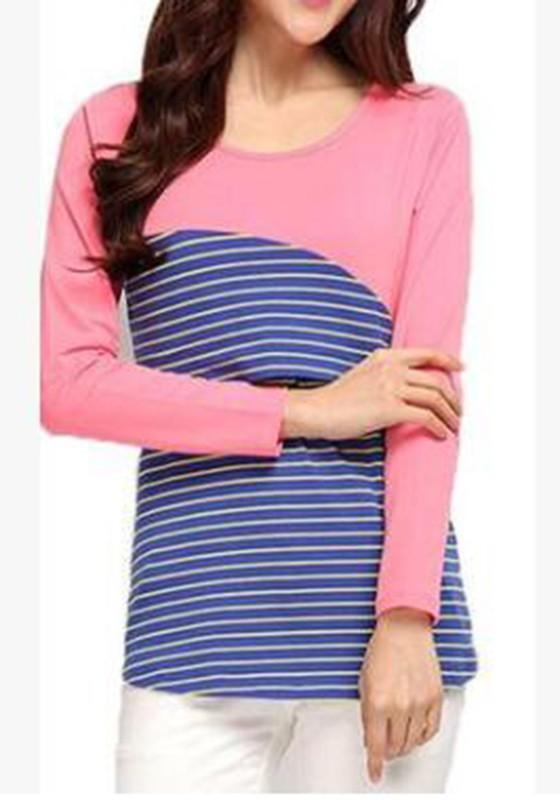 Pink Striped Round Neck Long Sleeve Breastfeeding Sweatshirt