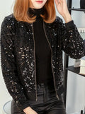 New Black Patchwork Zipper Sequin Band Collar Fashion Outerwear