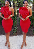 Red Irregular Ruffle One-shoulder Bodycon Prom Evening Party Midi Dress