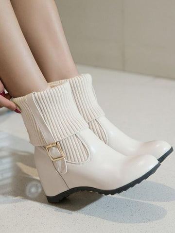 New White Round Toe Fashion Ankle Boots