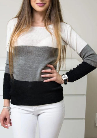 Black Grey Color Block Print Round Neck Casual Pullover Sweater