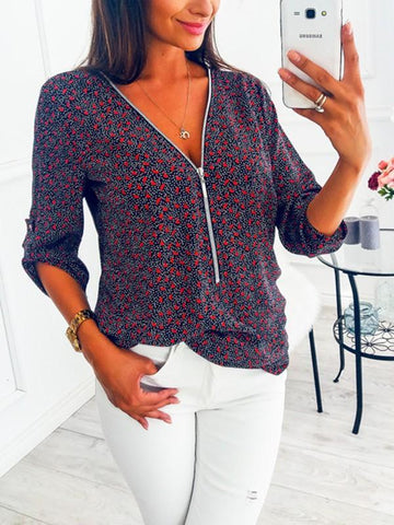 New Red Floral Print Zipper Deep V-neck Elbow Sleeve Casual Blouse