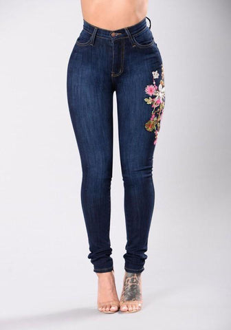 Women Dark Blue Embroidery Flowers Ripped High Waisted Skinny Jeans