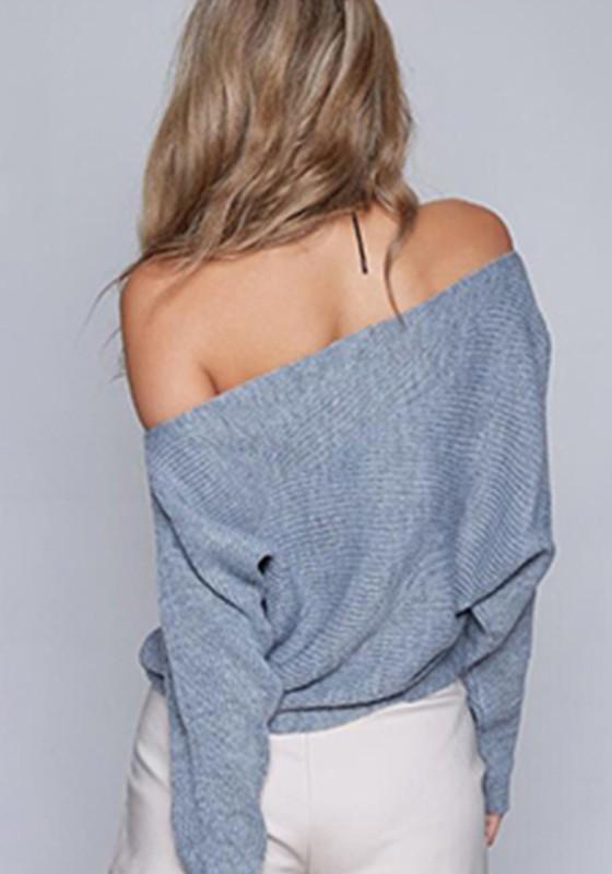 Grey Asymmetric Shoulder Batwing Sleeve Knit Fashion Pullover Sweatshirt