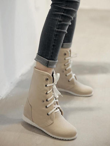 New Beige Round Toe Flat Cross Strap Fashion Ankle Boots
