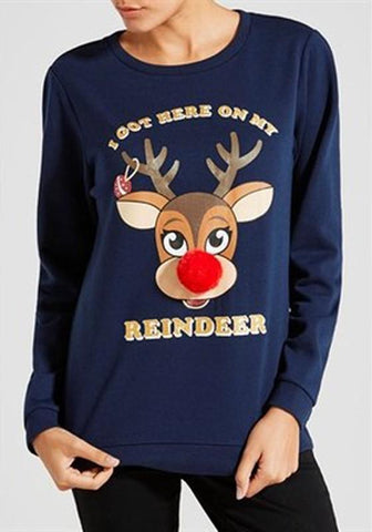 Navy Blue Christmas Deer Round Neck Long Sleeve Casual Pullover Sweatshirt
