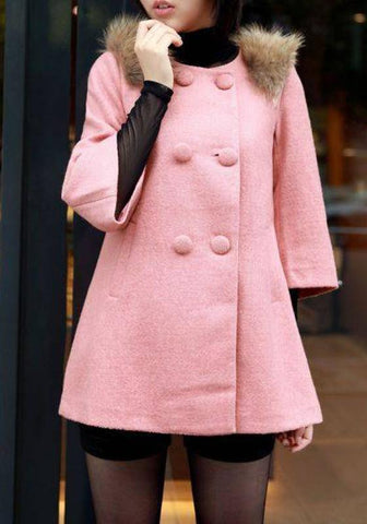 Pink Plain Fur Bow Round Neck Sweet Wool Coat