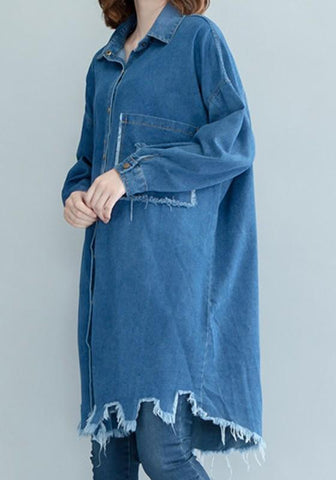 Blue Monogram Single Breasted Cut Out Office Worker/Daily Cardigan Coat