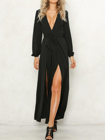 New Black Sashes Side Slit V-neck Long Sleeve Fashion Long Jumpsuit