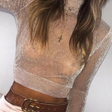 Pink Bright Wire Long Sleeve High Neck Sequin Club Wear Crop Top T-Shirt