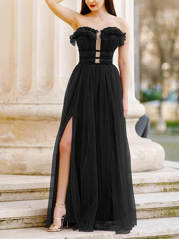 New Black Plain Ruffle Cut Out Draped Grenadine Party Maxi Dress