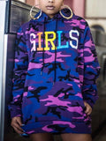 "New Camouflage ""GIRLS"" Print Drawstring Pockets Hooded Long Sleeve Casual Sweatshirt"