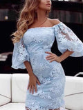 Blue Patchwork Lace Grenadine Boat Neck Long Sleeve Fashion Midi Dress