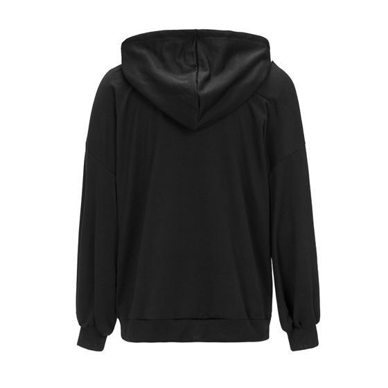 Black Drawstring Cut Out Pockets Long Sleeve Hooded Boyfriend Oversized Pullover Sweatshirt